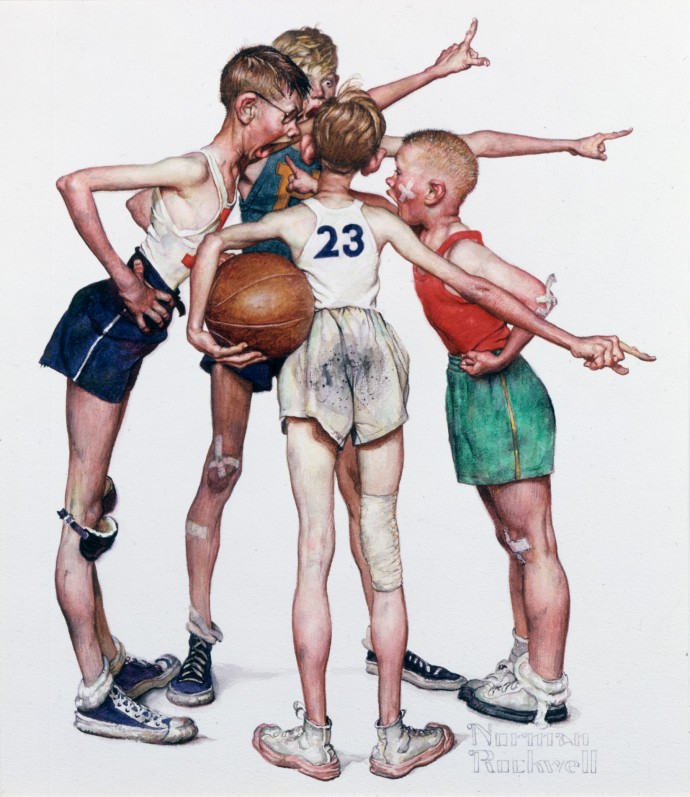 Four_Sporting_Boys_Basketball_Norman_Rockwell