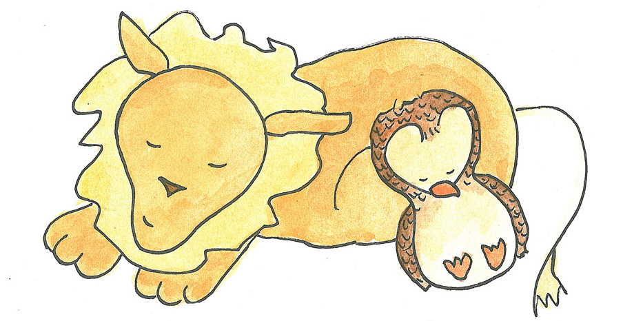 owl and lion_sleeping copy
