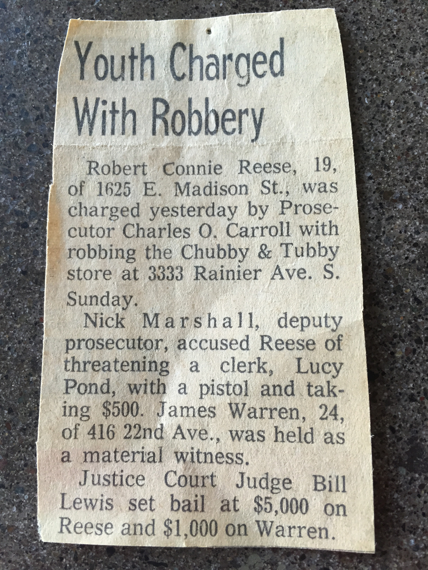Robbery newspaper clipping