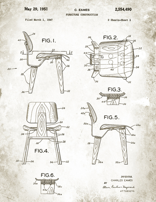Blueprint of an Eames chair