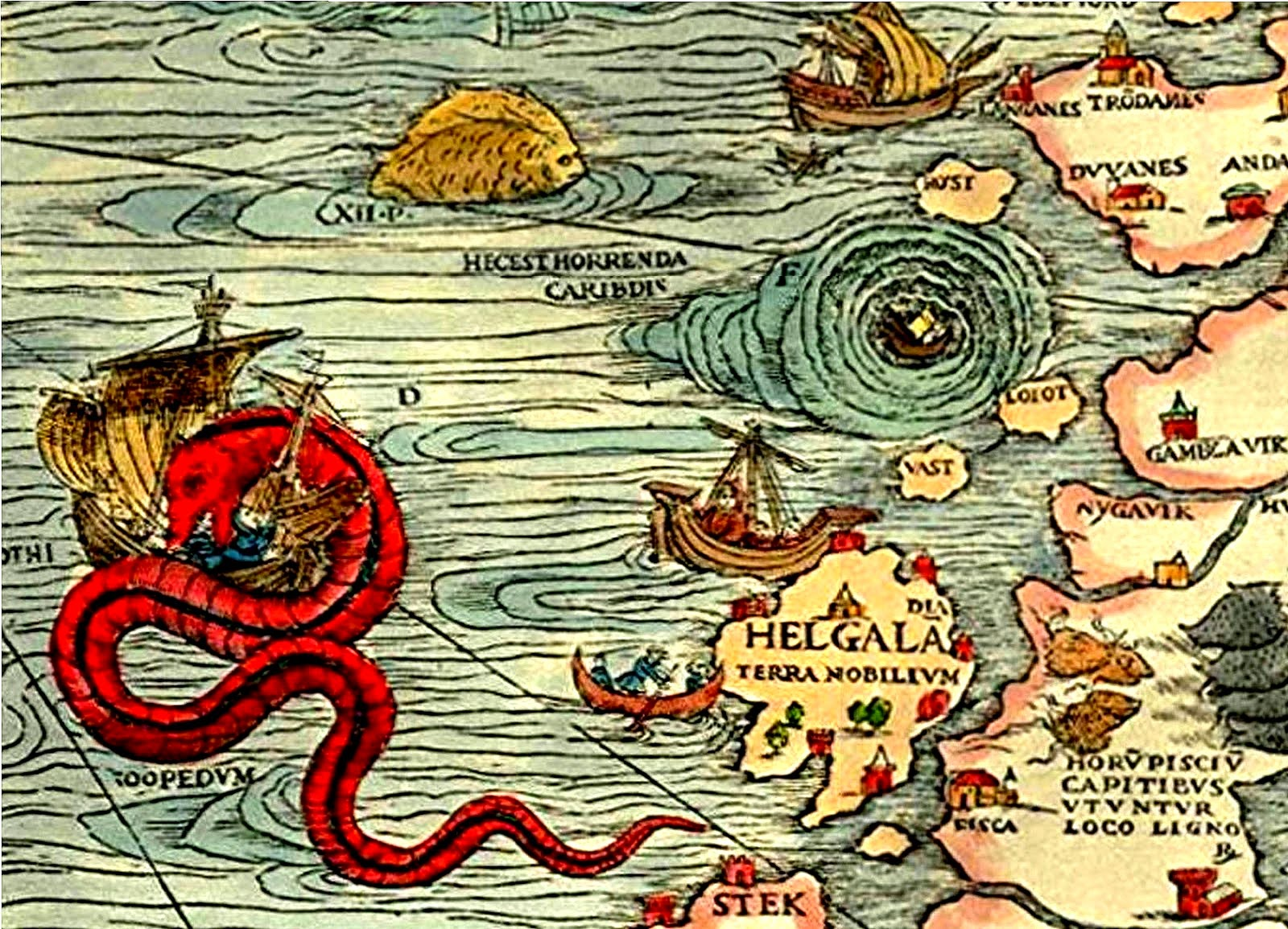Giant red eel-like sea serpent on antiquarian maritime map, extended